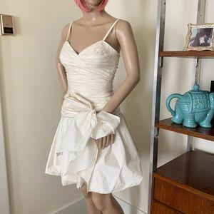 BCBGMaxAzria Silk Taffeta Ruched Bow Dress 4